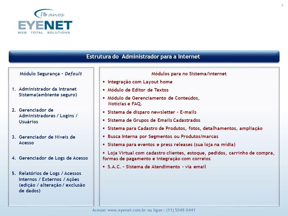 4 Acesse: www.eyenet.com.br ou ligue : (11) 5049-0441 Estrutura do Administrador para a Internet Módulo Segurança - Default 1.Administrador da Intranet Sistema(ambiente seguro) 2.Gerenciador de Administradores / Logins / Usuários 3.Gerenciador de Níveis de Acesso 4.Gerenciador de Logs de Acesso 5.Relatórios de Logs / Acessos Internos / Externos / Ações (edição / alteração / exclusão de dados) Módulos para no Sistema/internet Integração com Layout home Módulo de Editor de Textos Módulo de Gerenciamento de Conteúdos, Notícias e FAQ.