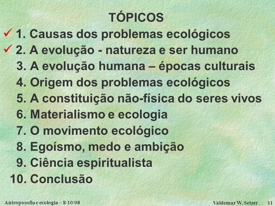 Antroposofia e ecologia – 8/10/08 Valdemar W.Setzer 11 TÓPICOS 1.