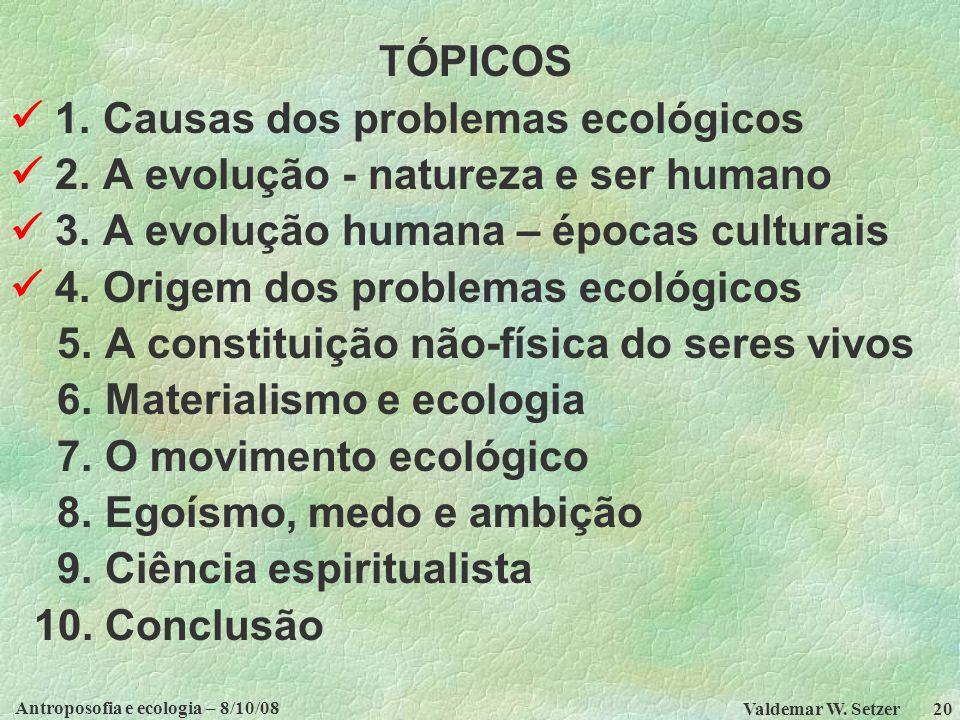 Antroposofia e ecologia – 8/10/08 Valdemar W.Setzer 20 TÓPICOS 1.