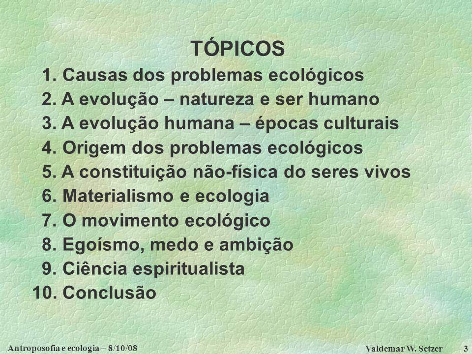 Antroposofia e ecologia – 8/10/08 Valdemar W.Setzer 3 TÓPICOS 1.