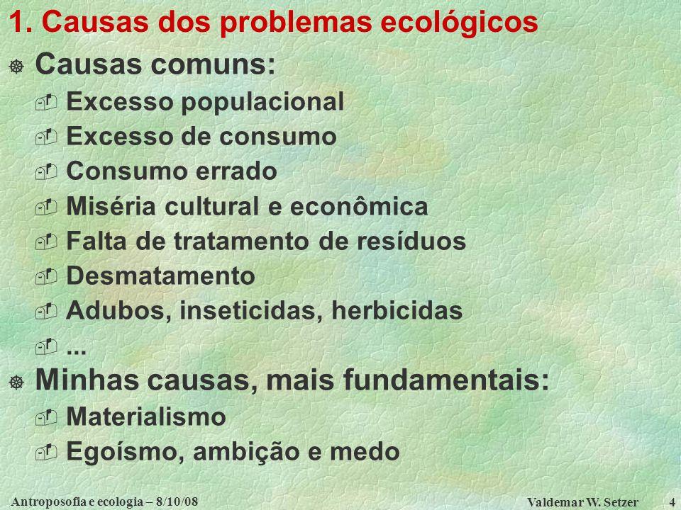 Antroposofia e ecologia – 8/10/08 Valdemar W.Setzer 5 TÓPICOS 1.
