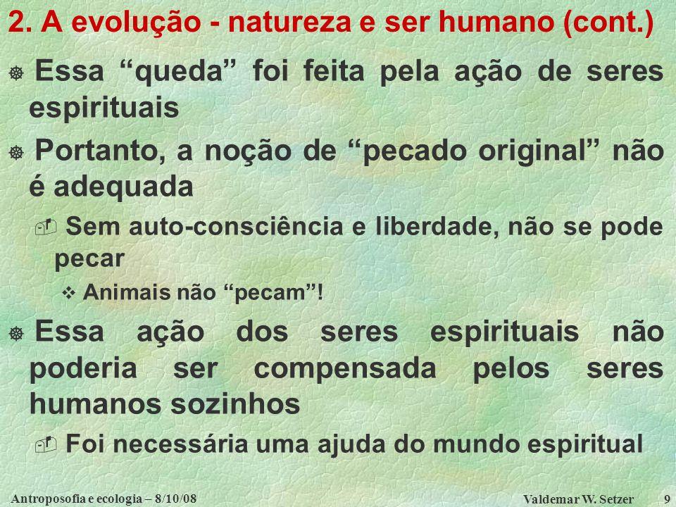 Antroposofia e ecologia – 8/10/08 Valdemar W.Setzer 9 2.