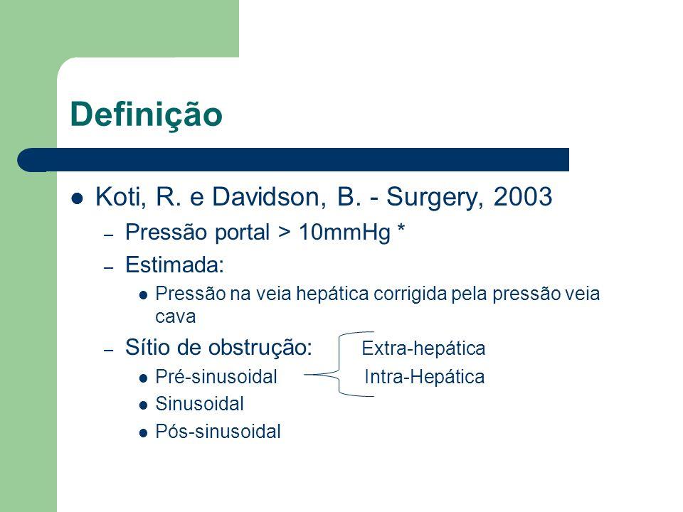 Definição Koti, R. e Davidson, B. - Surgery, 2003 – Pressão portal > 10mmHg * – Estimada: Pressão na veia hepática corrigida pela pressão veia cava –