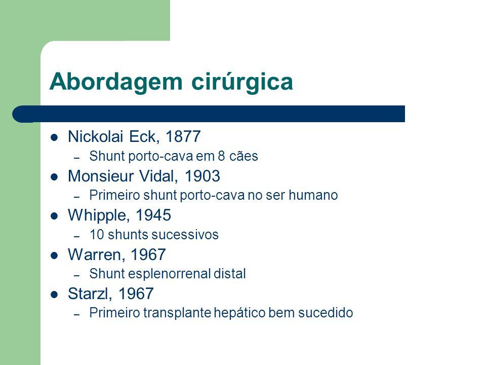 Abordagem cirúrgica Nickolai Eck, 1877 – Shunt porto-cava em 8 cães Monsieur Vidal, 1903 – Primeiro shunt porto-cava no ser humano Whipple, 1945 – 10