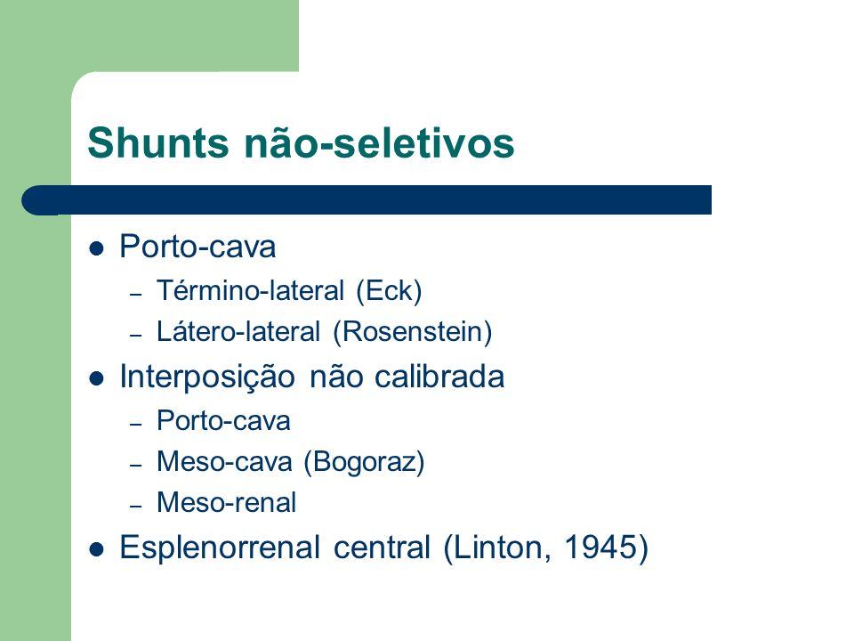 Shunts não-seletivos Porto-cava – Término-lateral (Eck) – Látero-lateral (Rosenstein) Interposição não calibrada – Porto-cava – Meso-cava (Bogoraz) –