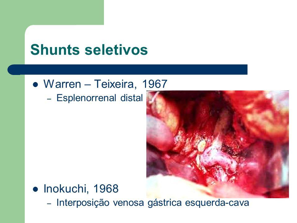 Shunts seletivos Warren – Teixeira, 1967 – Esplenorrenal distal Inokuchi, 1968 – Interposição venosa gástrica esquerda-cava