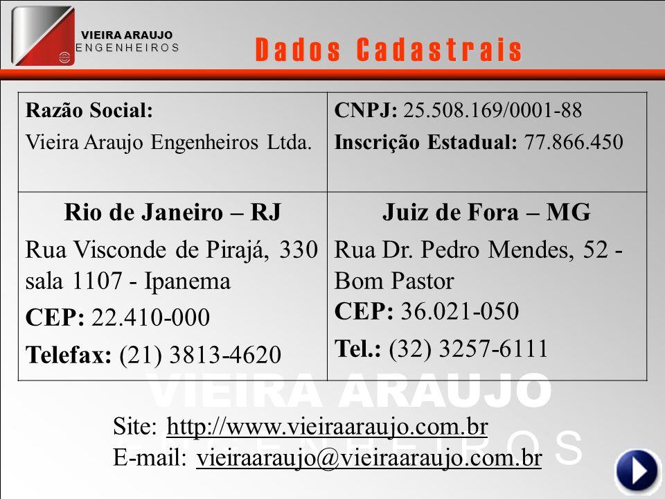 VIEIRA ARAUJO E N G E N H E I R O S VIEIRA ARAUJO E N G E N H E I R O S D a d o s C a d a s t r a i s Razão Social: Vieira Araujo Engenheiros Ltda. CN