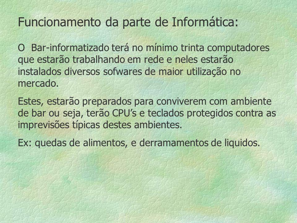 Funcionamento da parte de Informática: O Bar-informatizado terá no mínimo trinta computadores que estarão trabalhando em rede e neles estarão instalados diversos sofwares de maior utilização no mercado.