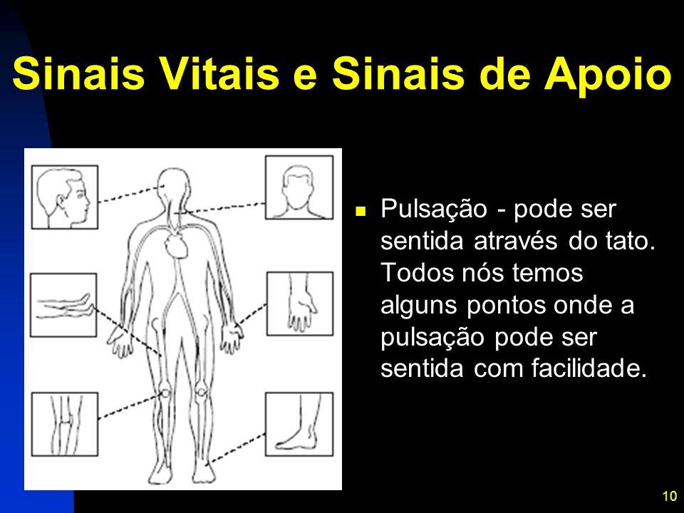 10 Sinais Vitais e Sinais de Apoio Pulsação - pode ser sentida através do tato. Todos nós temos alguns pontos onde a pulsação pode ser sentida com fac
