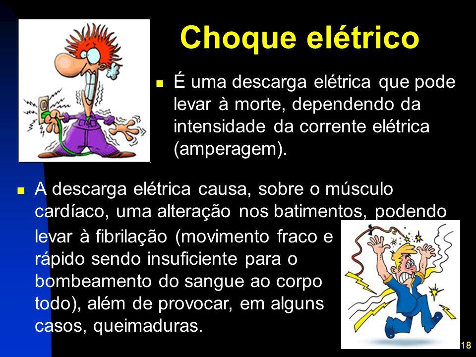 18 Choque elétrico A descarga elétrica causa, sobre o músculo cardíaco, uma alteração nos batimentos, podendo É uma descarga elétrica que pode levar à