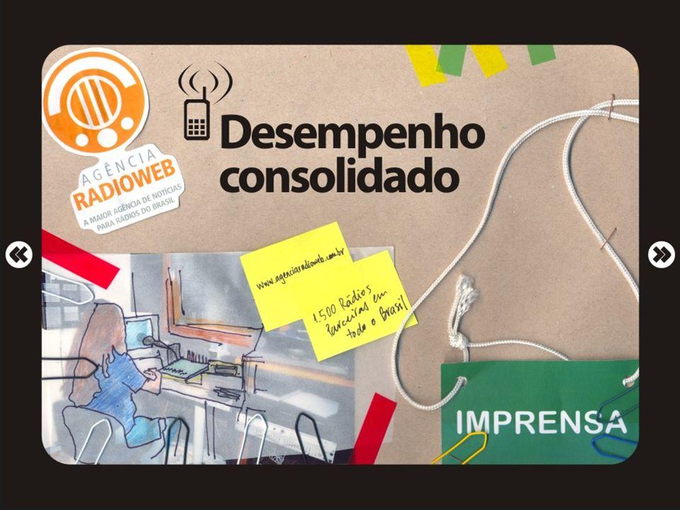 6.000 downloads diários Veiculação de 300 boletins por hora (um a cada 10 segundos) Mais de 100 mil veiculações mensais em todo o Brasil