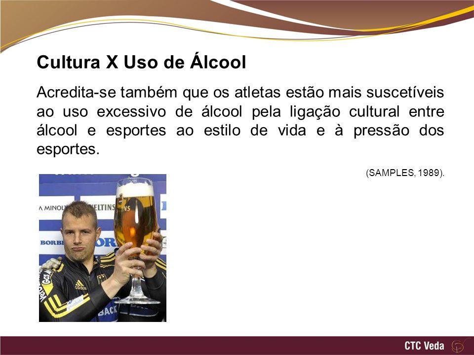 Cultura X Uso de Álcool Acredita-se também que os atletas estão mais suscetíveis ao uso excessivo de álcool pela ligação cultural entre álcool e esportes ao estilo de vida e à pressão dos esportes.
