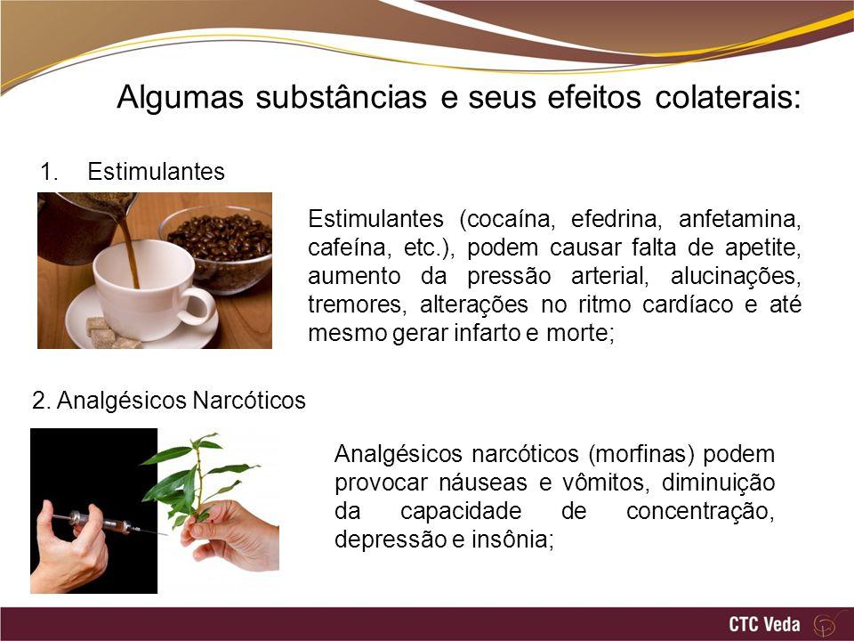 Algumas substâncias e seus efeitos colaterais: 1.Estimulantes Estimulantes (cocaína, efedrina, anfetamina, cafeína, etc.), podem causar falta de apeti