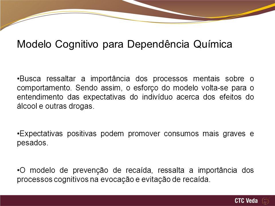 Modelo Cognitivo para Dependência Química Busca ressaltar a importância dos processos mentais sobre o comportamento. Sendo assim, o esforço do modelo