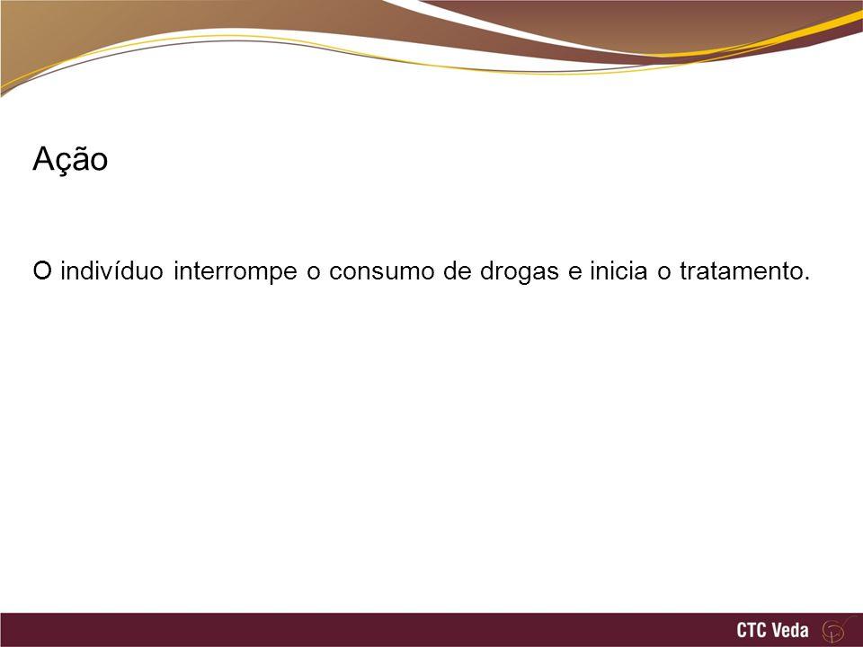 Ação O indivíduo interrompe o consumo de drogas e inicia o tratamento.