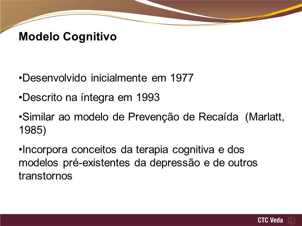 Modelo Cognitivo Desenvolvido inicialmente em 1977 Descrito na íntegra em 1993 Similar ao modelo de Prevenção de Recaída (Marlatt, 1985) Incorpora con