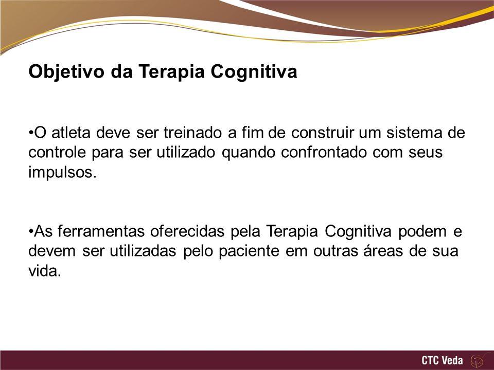 Objetivo da Terapia Cognitiva O atleta deve ser treinado a fim de construir um sistema de controle para ser utilizado quando confrontado com seus impulsos.