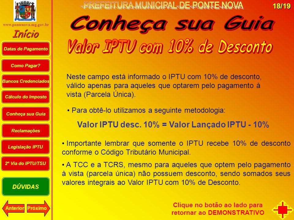 Como Pagar? Cálculo do Imposto PróximoAnterior Bancos Credenciados Conheça sua Guia Início DÚVIDAS Reclamações Datas de Pagamento www.pontenova.mg.gov