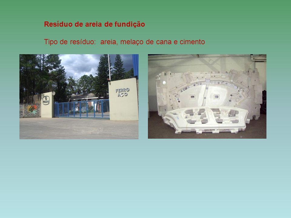 Resíduo de areia de fundição Tipo de resíduo: areia, melaço de cana e cimento
