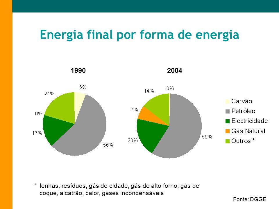 Energia final por forma de energia Fonte: DGGE 19902004 * * lenhas, resíduos, gás de cidade, gás de alto forno, gás de coque, alcatrão, calor, gases i