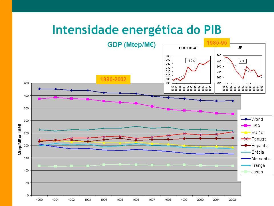 GDP (Mtep/M) Intensidade energética do PIB 1985-95 1990-2002