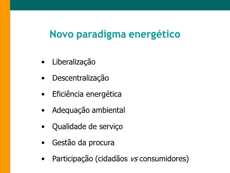 Liberalização Descentralização Eficiência energética Adequação ambiental Qualidade de serviço Gestão da procura Participação (cidadãos vs consumidores