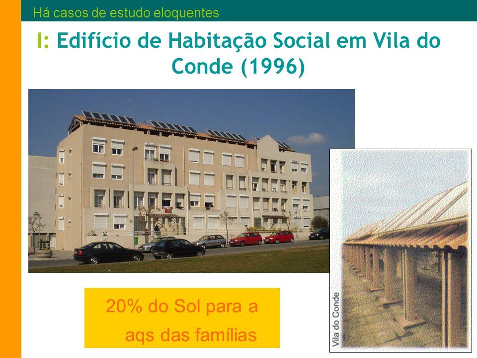 I: Edifício de Habitação Social em Vila do Conde (1996) 20% do Sol para a aqs das famílias Há casos de estudo eloquentes