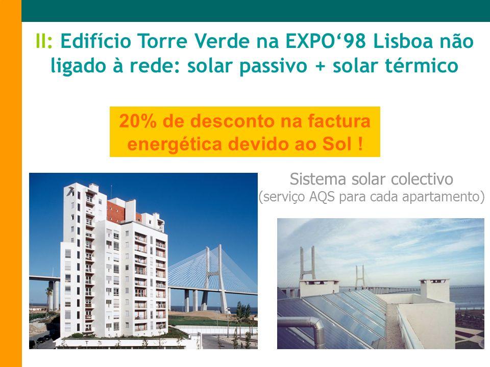 Sistema solar colectivo (serviço AQS para cada apartamento) II: Edifício Torre Verde na EXPO98 Lisboa não ligado à rede: solar passivo + solar térmico