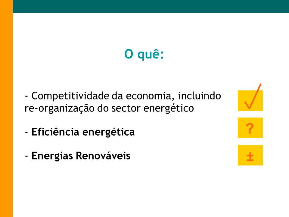- Competitividade da economia, incluindo re-organização do sector energético - Eficiência energética - Energias Renováveis O quê: ? ±