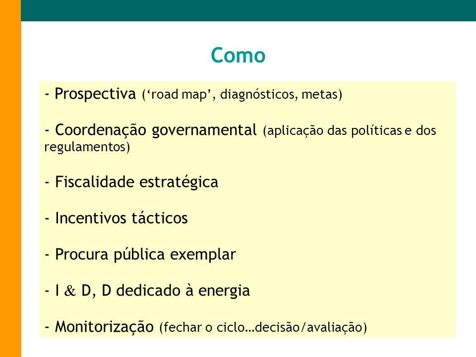 - Prospectiva (road map, diagnósticos, metas) - Coordenação governamental (aplicação das políticas e dos regulamentos) - Fiscalidade estratégica - Inc