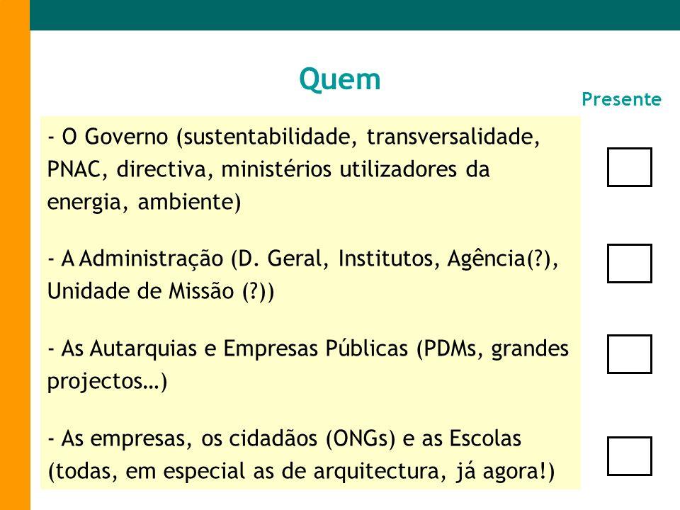 - O Governo (sustentabilidade, transversalidade, PNAC, directiva, ministérios utilizadores da energia, ambiente) - A Administração (D. Geral, Institut