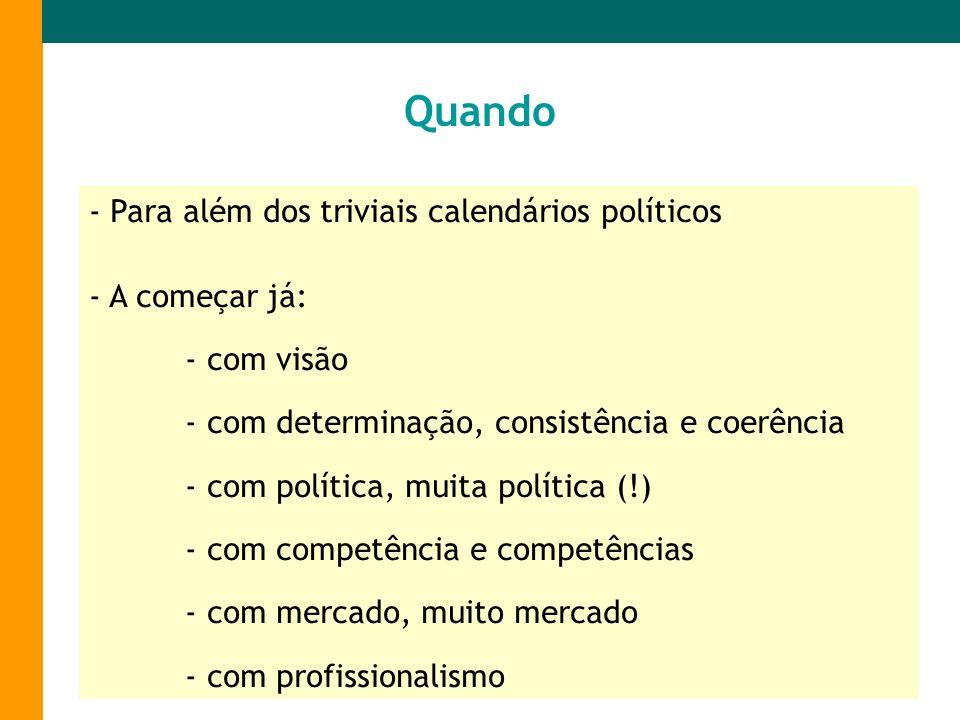 - Para além dos triviais calendários políticos - A começar já: - com visão - com determinação, consistência e coerência - com política, muita política