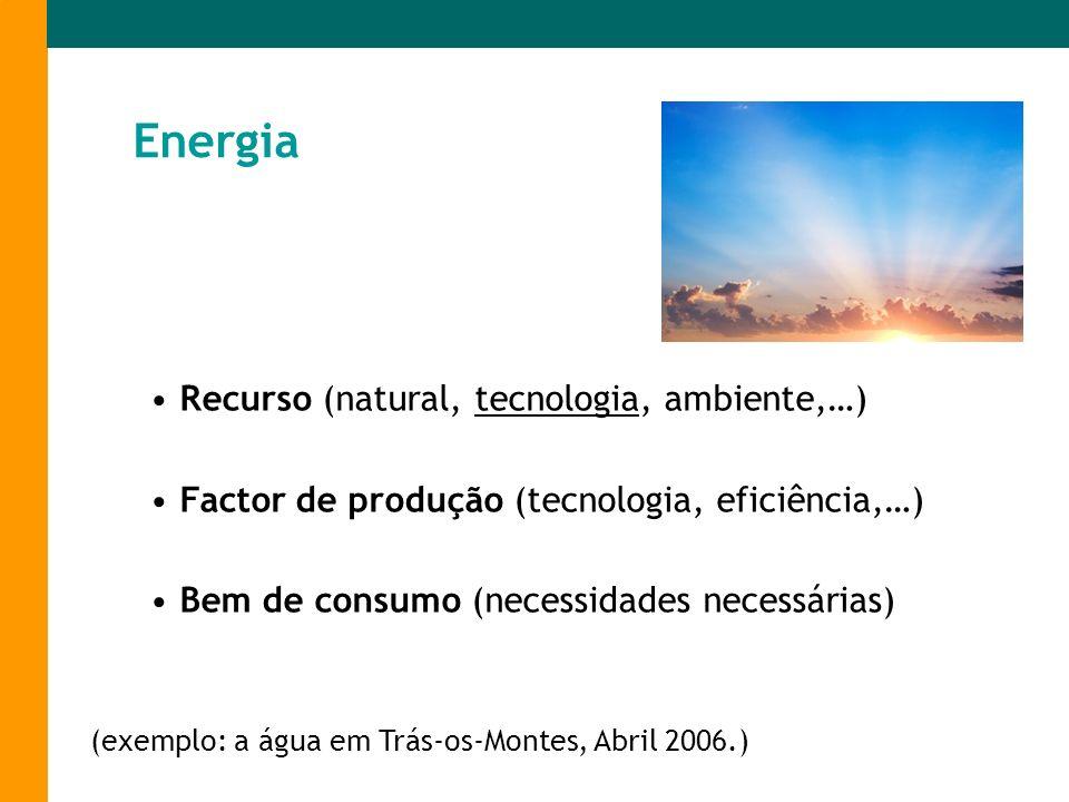Energia Recurso (natural, tecnologia, ambiente,…) Factor de produção (tecnologia, eficiência,…) Bem de consumo (necessidades necessárias) (exemplo: a