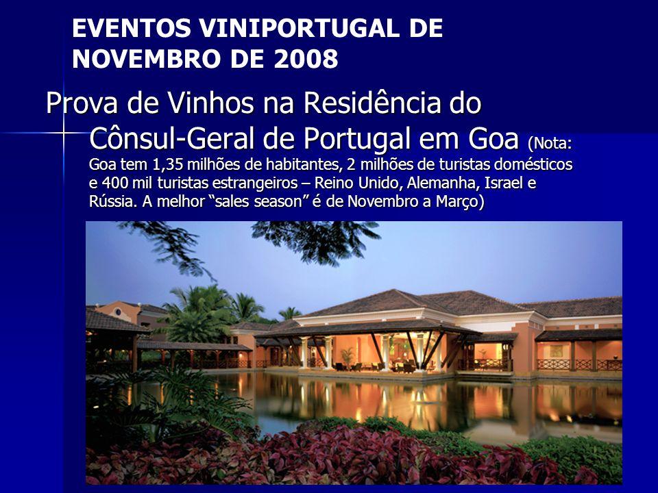 20 Prova de Vinhos na Residência do Cônsul-Geral de Portugal em Goa (Nota: Goa tem 1,35 milhões de habitantes, 2 milhões de turistas domésticos e 400