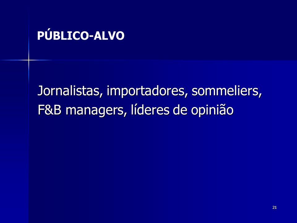 21 Jornalistas, importadores, sommeliers, F&B managers, líderes de opinião PÚBLICO-ALVO