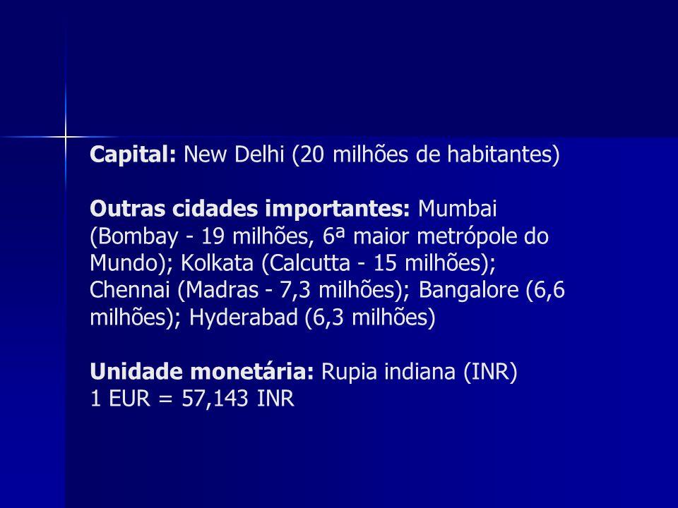 Capital: New Delhi (20 milhões de habitantes) Outras cidades importantes: Mumbai (Bombay - 19 milhões, 6ª maior metrópole do Mundo); Kolkata (Calcutta