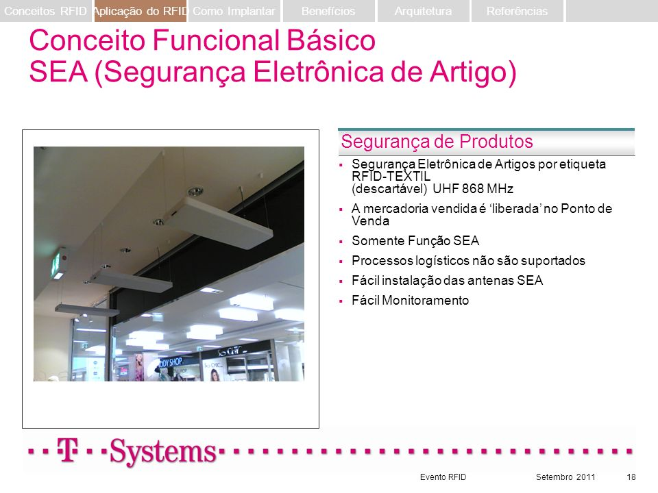 Evento RFIDSetembro 201118 Segurança Eletrônica de Artigos por etiqueta RFID-TEXTIL (descartável) UHF 868 MHz A mercadoria vendida é liberada no Ponto
