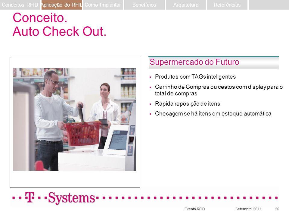 Evento RFIDSetembro 201120 Produtos com TAGs inteligentes Carrinho de Compras ou cestos com display para o total de compras Rápida reposição de itens