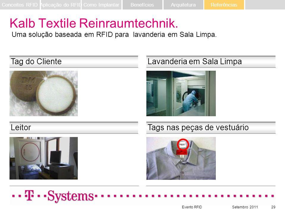 Evento RFIDSetembro 201129 Leitor Tag do Cliente Tags nas peças de vestuário Lavanderia em Sala Limpa Kalb Textile Reinraumtechnik. Uma solução basead