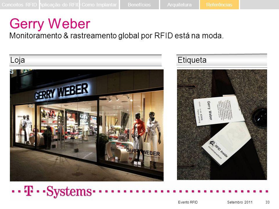 Evento RFIDSetembro 201133 LojaEtiqueta Gerry Weber Monitoramento & rastreamento global por RFID está na moda. Referências ArquiteturaBenefíciosComo I