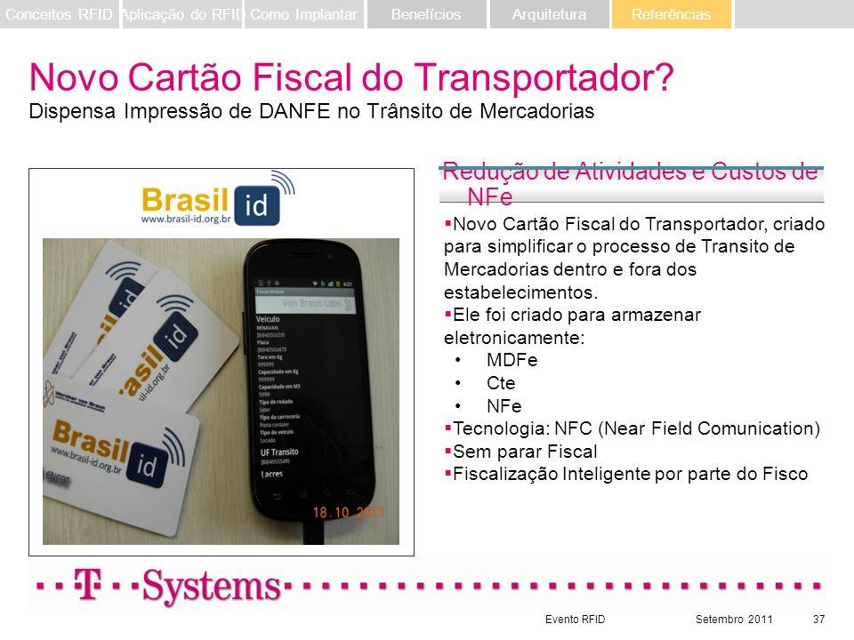 Evento RFIDSetembro 201137 Referências ArquiteturaBenefíciosComo ImplantarAplicação do RFIDConceitos RFID Novo Cartão Fiscal do Transportador? Dispens