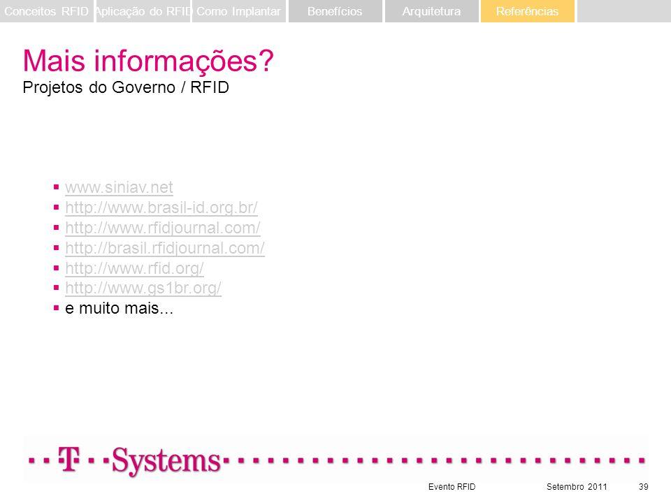 Evento RFIDSetembro 201139 Referências ArquiteturaBenefíciosComo ImplantarAplicação do RFIDConceitos RFID Mais informações? Projetos do Governo / RFID