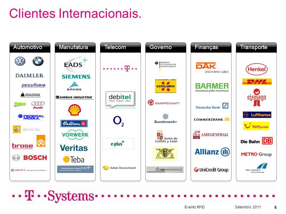 Evento RFIDSetembro 20118 Finanças Transporte Governo Telecom Manufatura Automotivo Clientes Internacionais. 8