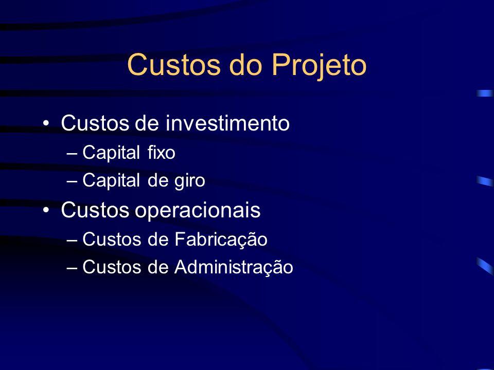Custos do Projeto Custos de investimento –Capital fixo –Capital de giro Custos operacionais –Custos de Fabricação –Custos de Administração