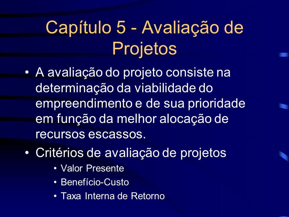 Capítulo 5 - Avaliação de Projetos A avaliação do projeto consiste na determinação da viabilidade do empreendimento e de sua prioridade em função da m