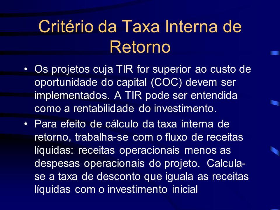 Critério da Taxa Interna de Retorno Os projetos cuja TIR for superior ao custo de oportunidade do capital (COC) devem ser implementados. A TIR pode se