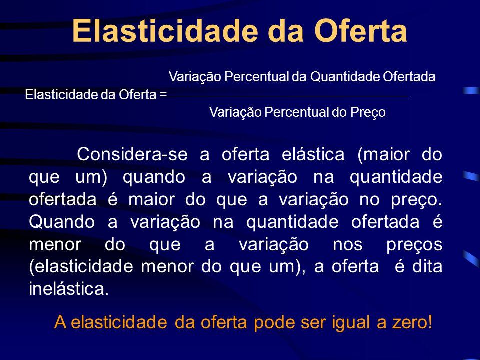 Elasticidade da Oferta Variação Percentual da Quantidade Ofertada Elasticidade da Oferta = Variação Percentual do Preço Considera-se a oferta elástica