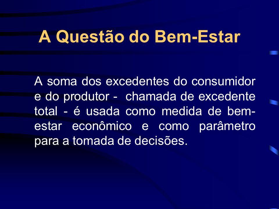 A Questão do Bem-Estar A soma dos excedentes do consumidor e do produtor - chamada de excedente total - é usada como medida de bem- estar econômico e