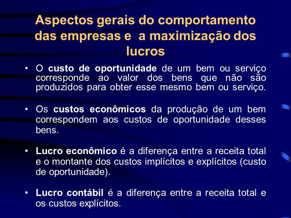 Aspectos gerais do comportamento das empresas e a maximização dos lucros O custo de oportunidade de um bem ou serviço corresponde ao valor dos bens qu
