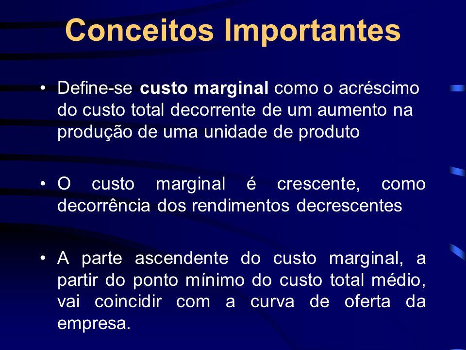 Conceitos Importantes Define-se custo marginal como o acréscimo do custo total decorrente de um aumento na produção de uma unidade de produto O custo